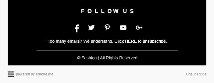 email marketing footer example showing unsubscribe buttons