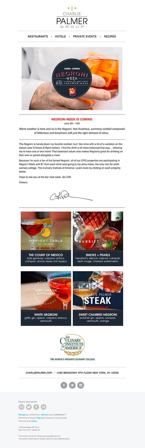 The more personal your marketing, the better. Mimicking a handwritten letter by including a real signature (ideally from a person your audience will recognize, like a chef or company figurehead) at the end of your message is a nice touch that makes guests feel more connected to your restaurant.