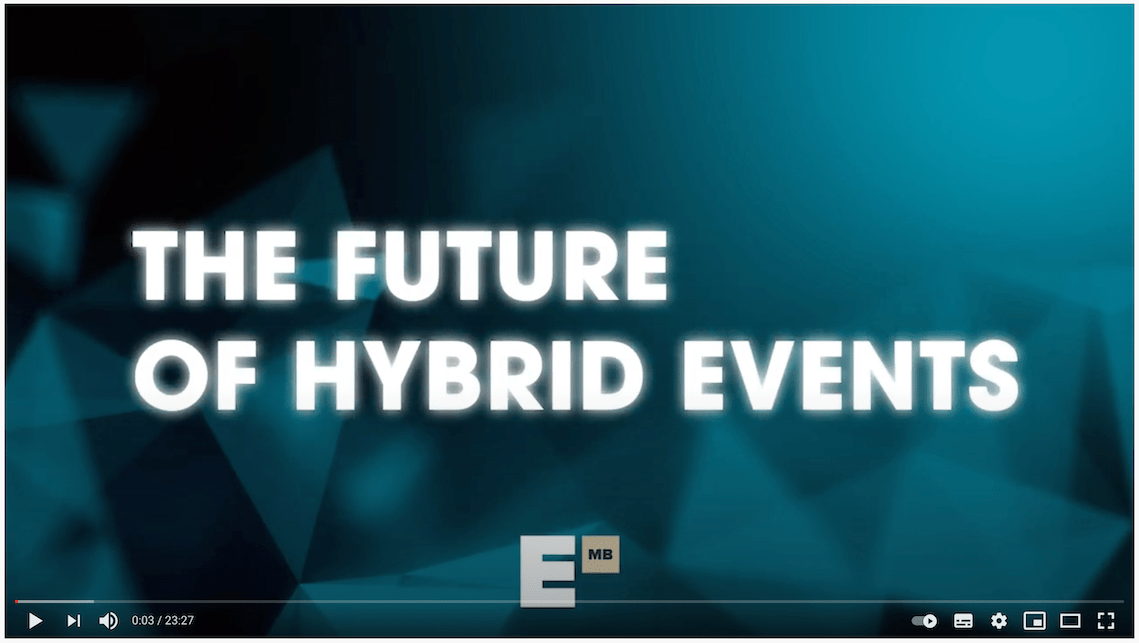 Screenshot of an intro to Event MB's YouTube video titled The Future of Hybrid Events.