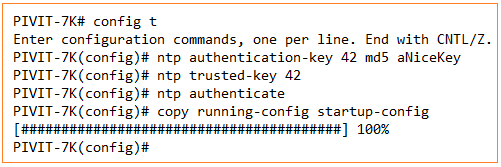 configuration command to show ntp authentication from pivit global