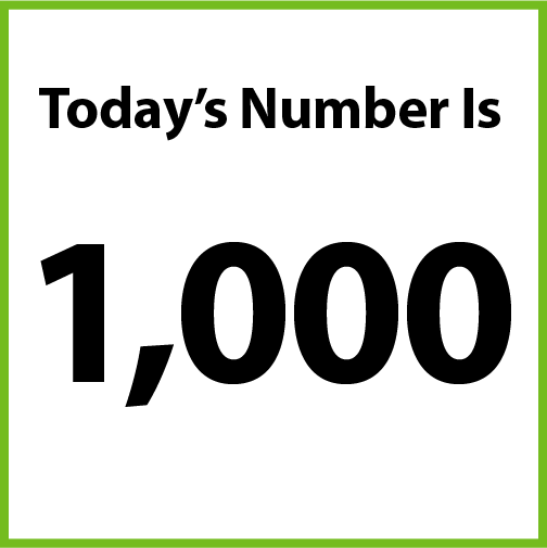 Today's number is 1,000.