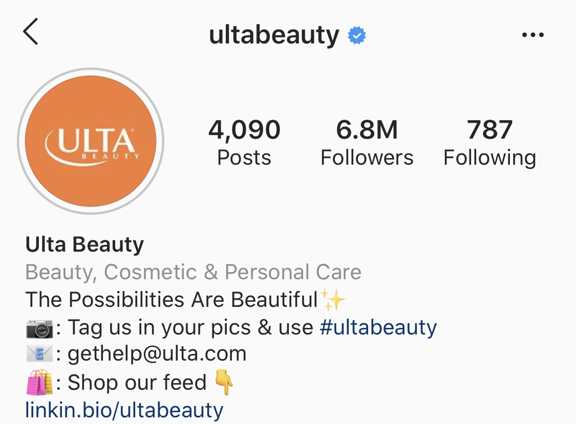 Screenshot of Ulta's Instagram bio
