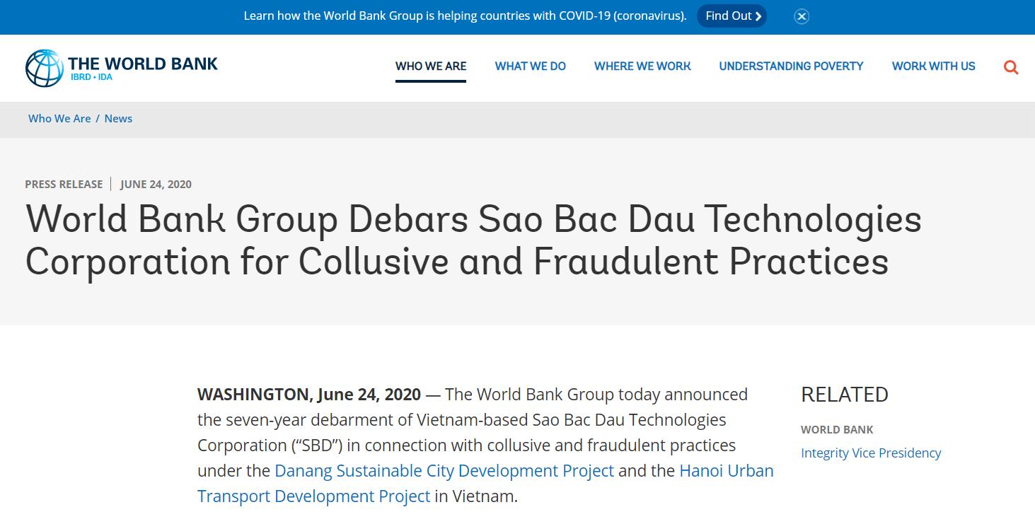 Công ty Việt nhận Huân chương lao động hạng 2 bị World Bank cấm vận vì lừa đảo - Ảnh 1
