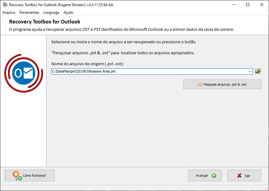 software recovery toolbox, mostrando onde o arquivo pst está salvo