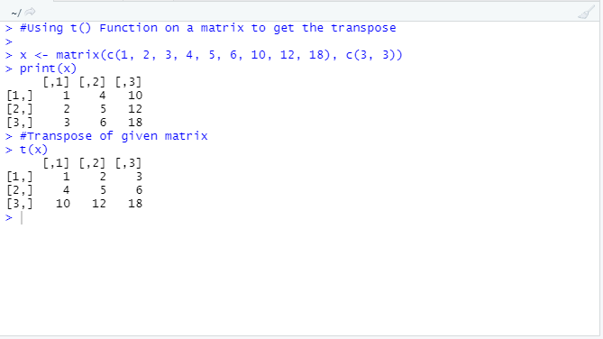 This image shows how to compute the transpose of a matrix in R using t() function with example and output code.