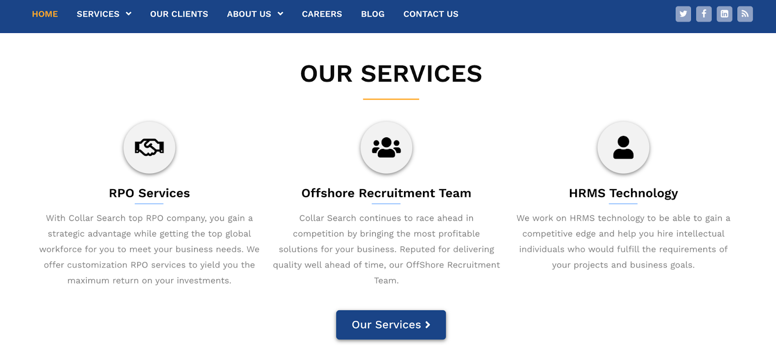 Collar Search website – HR outsourcing company in India