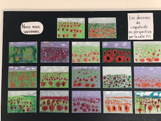 student paintings of poppy flowers