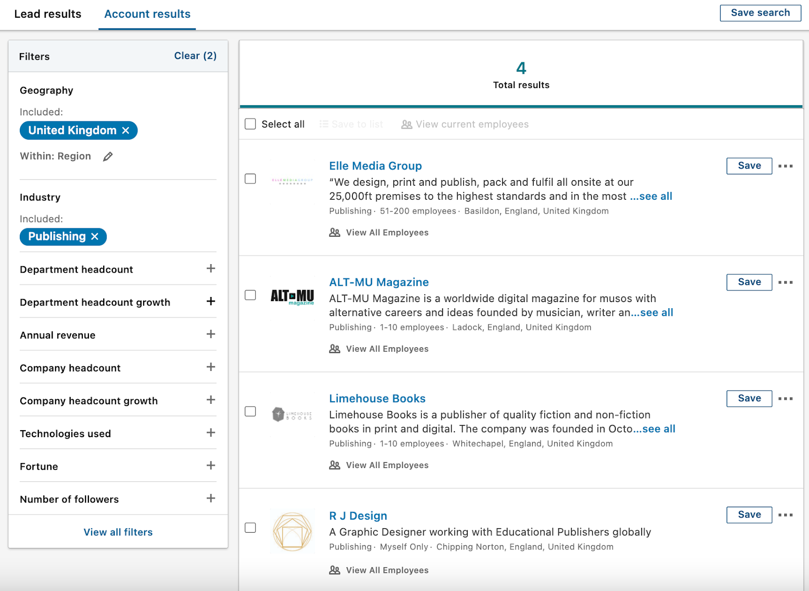 Account leads on LinkedIn Sales Navigator based on the previous search
