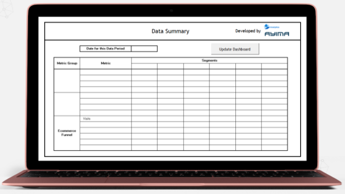The data summary tab within the ecommerce analytics dashboard