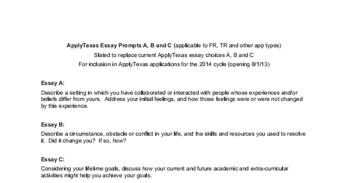 apply texas essay prompts 2016 Apply texas essay topics college app prompts co patriotism youtube top rhetorical analysis list new requirements for applytexas and c homework writing apply texas essay c homework writing service getermpaperkpva apply texas essay c the new prompt is quite tricky and allows for a wide range hd.