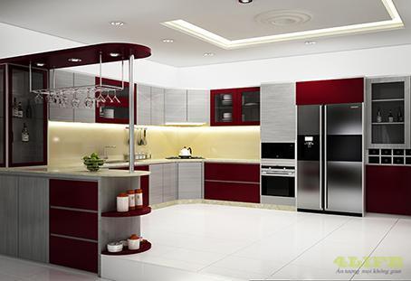 thi công tủ bếp đẹp theo yêu cầu