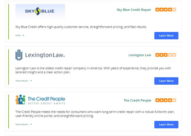 Credit repair companies list screenshot