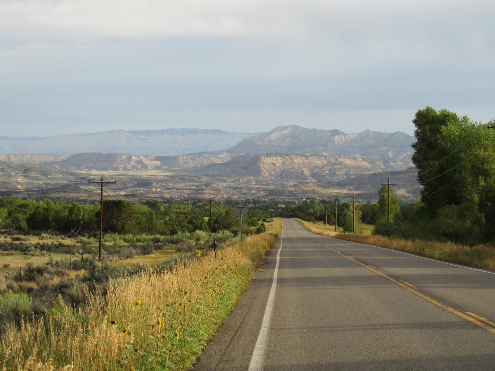Biking Grand Mesa North - mountains and roadway