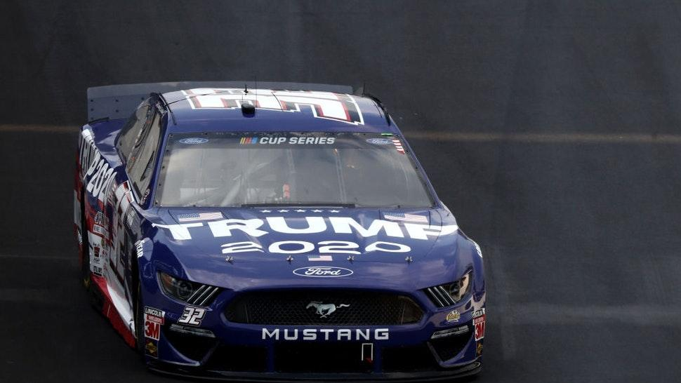 Corey LaJoie, driver of the #32 Trump 2020 Ford, drives during the NASCAR Cup Series Big Machine Hand Sanitizer 400 Powered by Big Machine Records at Indianapolis Motor Speedway on July 05, 2020 in Indianapolis, Indiana.