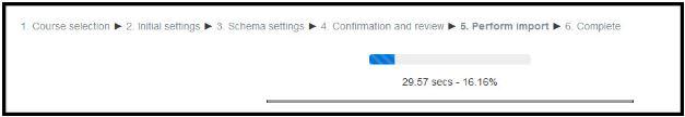 Data import progress bar screenshot