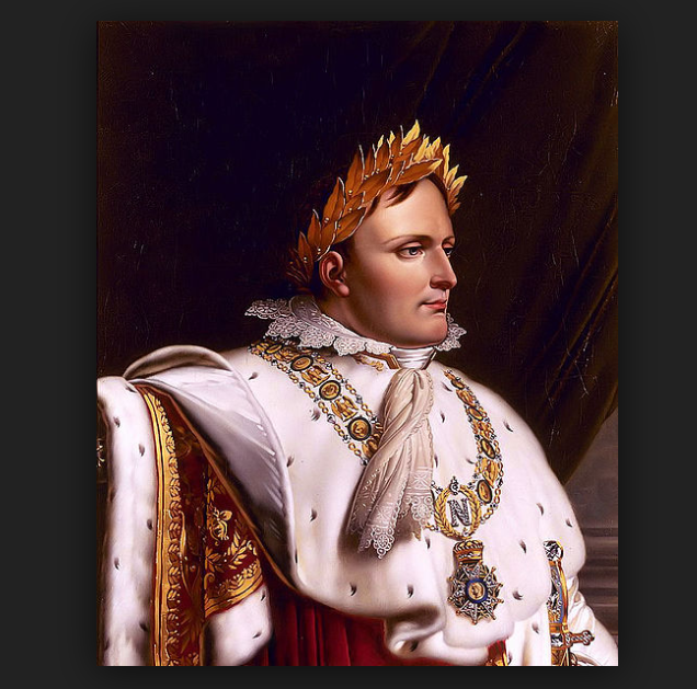 Photo of Napoleon wearing a stephanos, or grass crown.