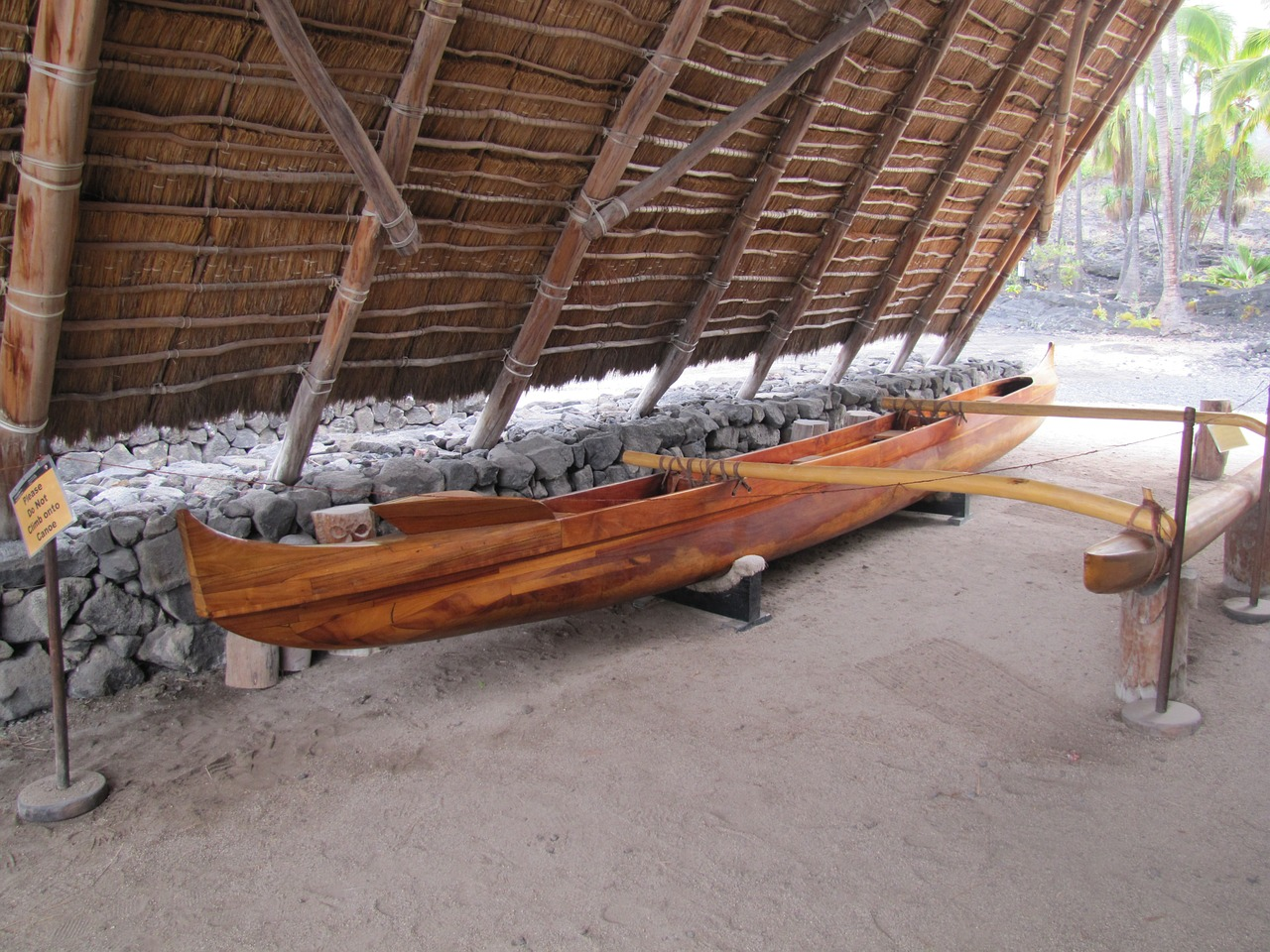 A monohull canoe with an attached exterior outrigger is shown in this file photo.