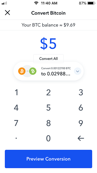 Convert Bitcoin amount page on Coinbase.