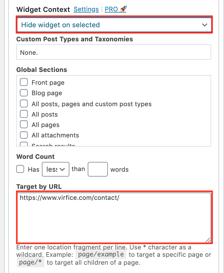 hide widgets on selected pages of WordPress sites