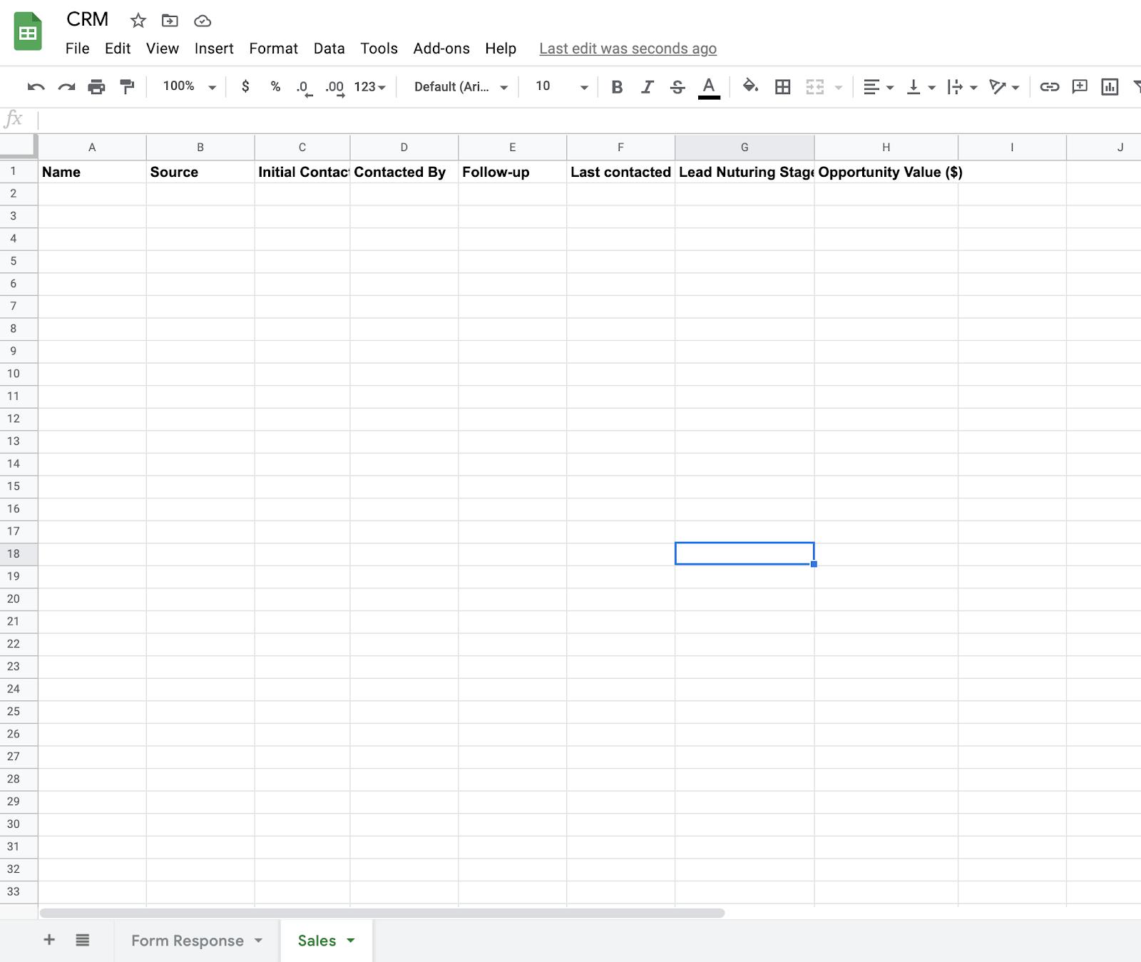 Google Sheets Sales Tab
