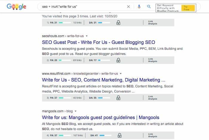 Tùy chọn trang web đăng bài của khách từ tìm kiếm của Google bằng Mozbar để lọc các trang web có DA thấp
