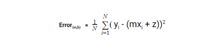 The equation for calculation of error in normal linear regression