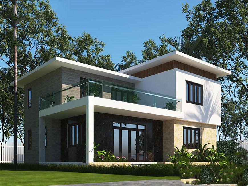Mẫu nhà 2 tầng nông thôn với thiết kế không gian mở