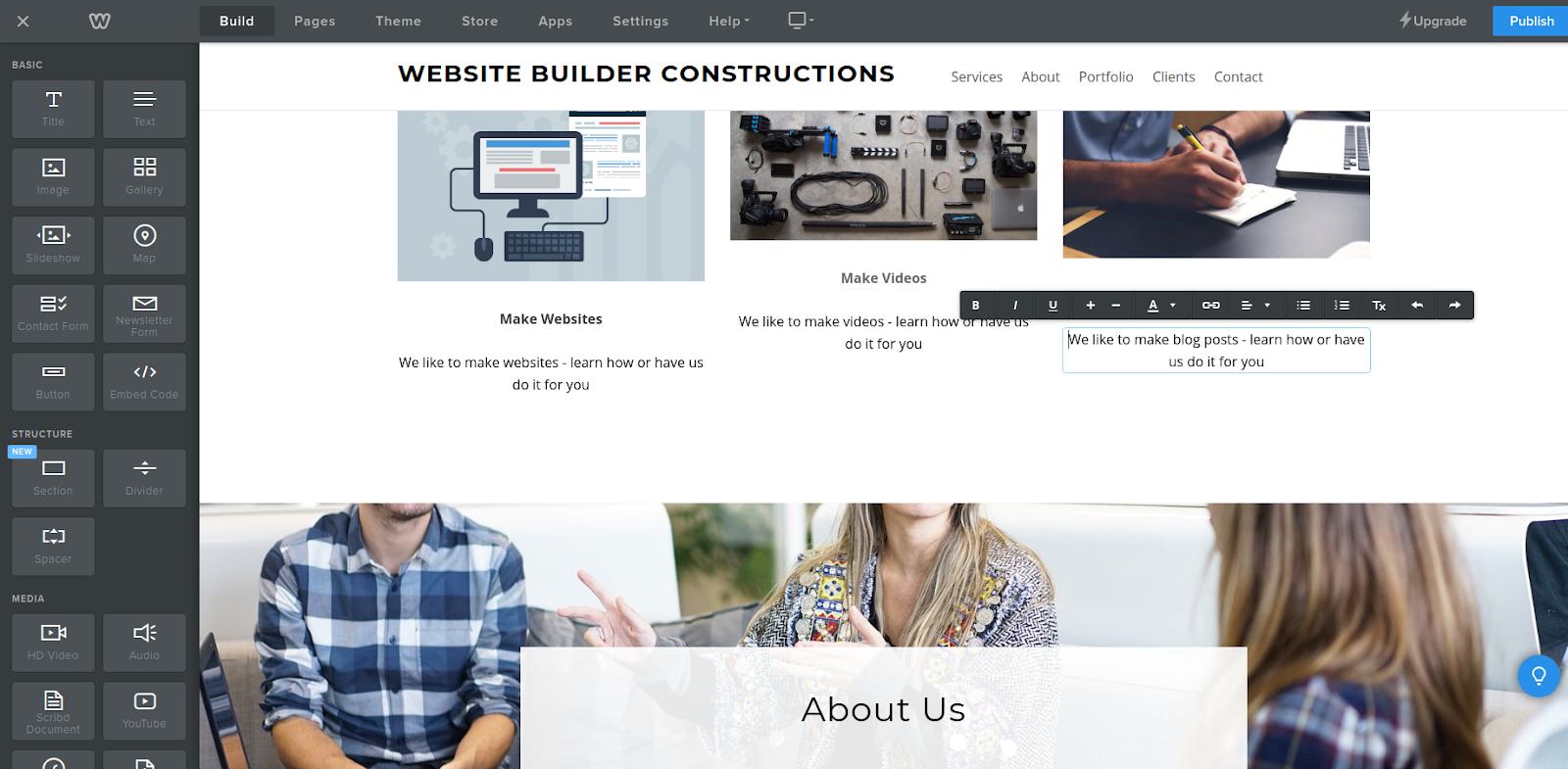 weebly website maker editor