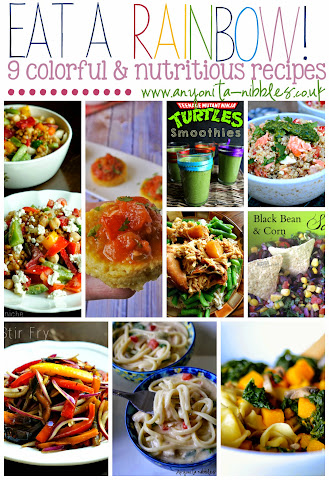 Eat a Rainbow! 9 colorful & nutritious recipes from #tastytuesdays on Anyonita Nibbles