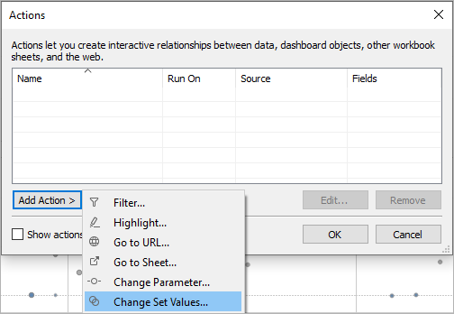 Actions dialog box with Add Action button clicked and Change Set Values action selected to create a set action.