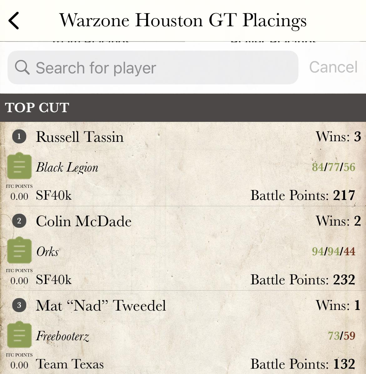 warzone houston warhammer 40k winning lists