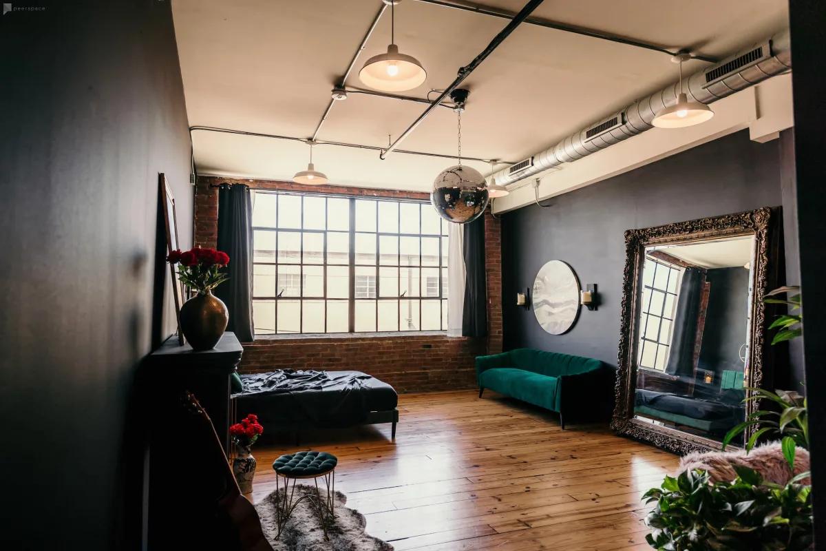 moody loft indoor photoshoot dallas
