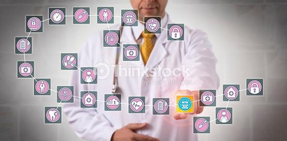 Doctor Touching Data Block In Medical Blockchain : Stock Photo