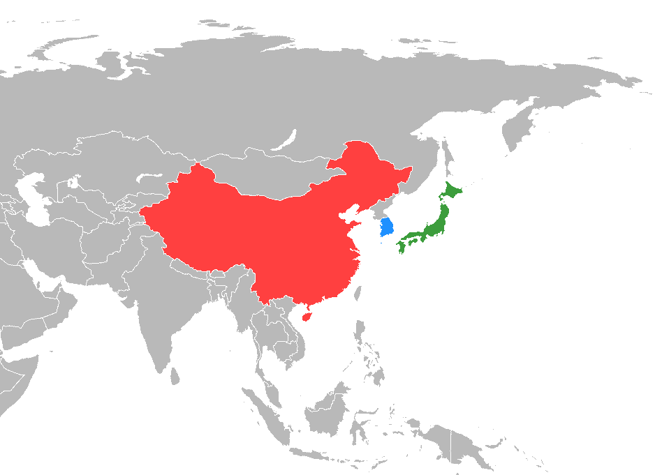 Japan (green) and South Korea