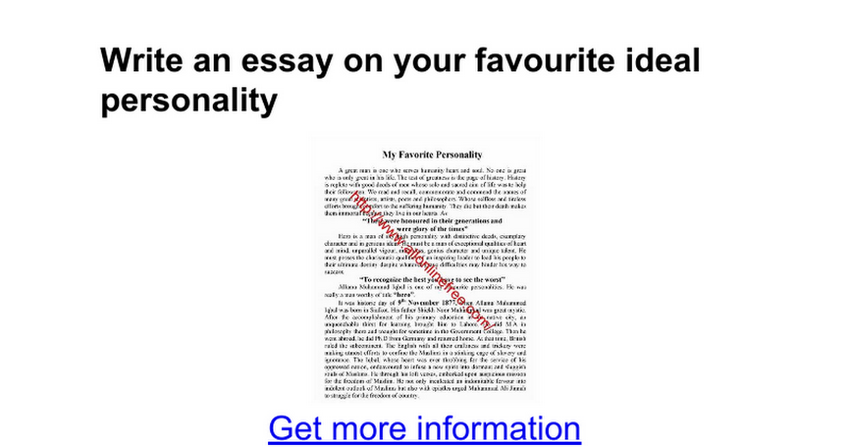 write an essay on your favourite ideal personality google docs
