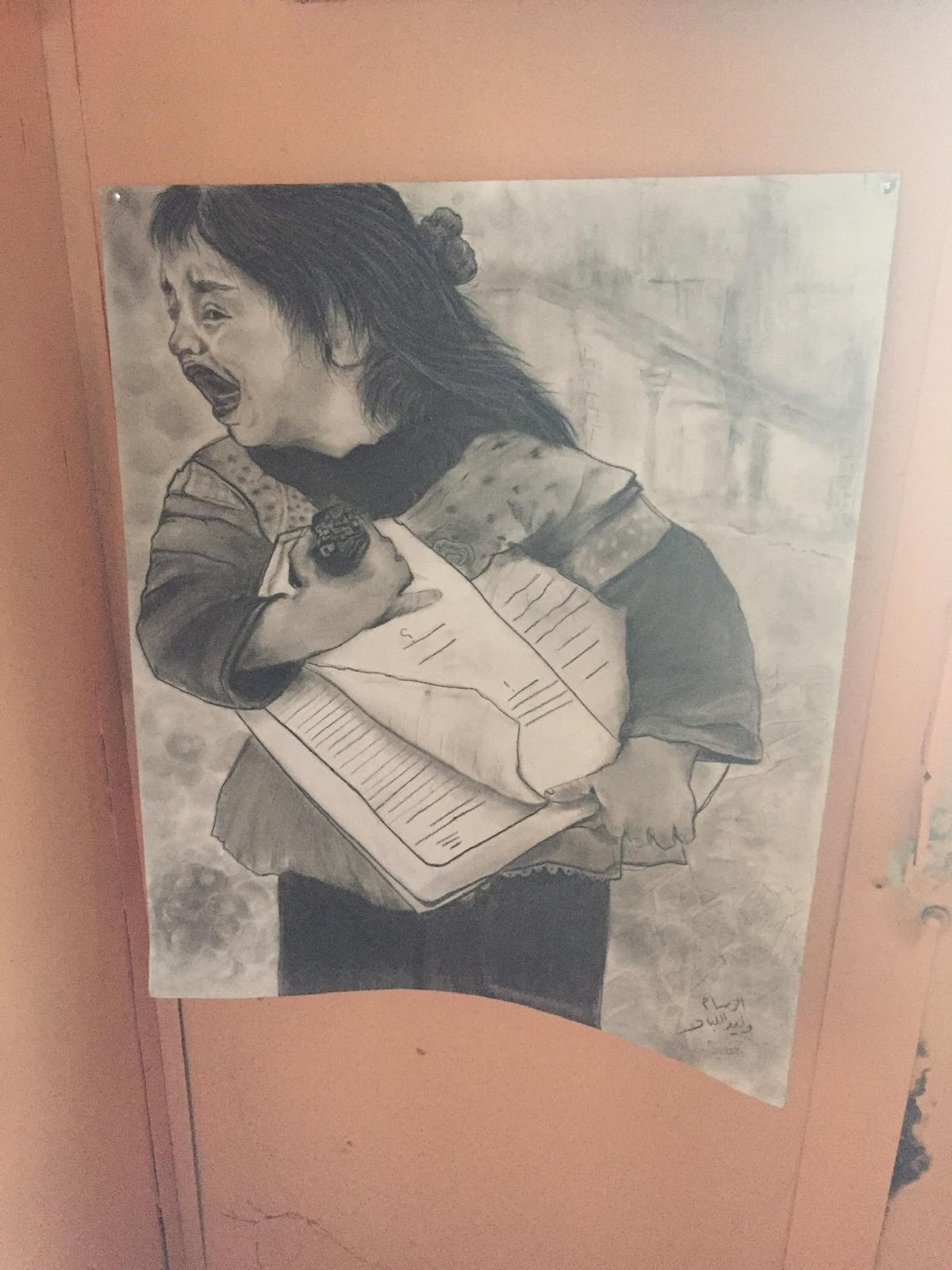Photo by Alex Gunn showing art made by refugees in the Zaatari Refugee Camp