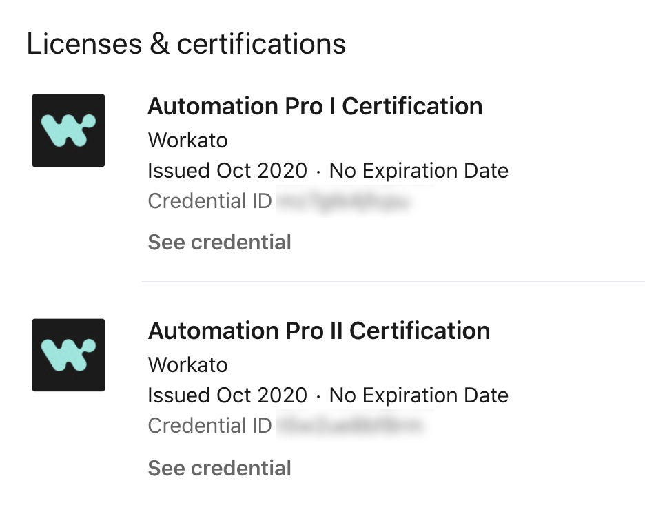Examples of the licenses and certificates you can earn from Workato's Automation Institute.