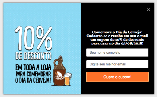 Imagem do Pop-up do Dia da Cerveja - Vendas por e-mail no e-commerce.