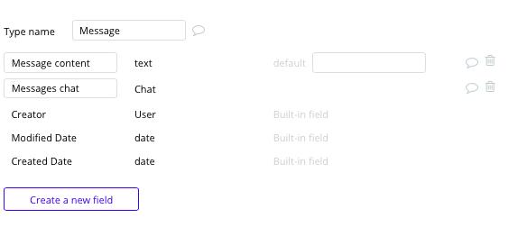 Tipos de dados e campos para criar um app de mensagens tipo whatsapp