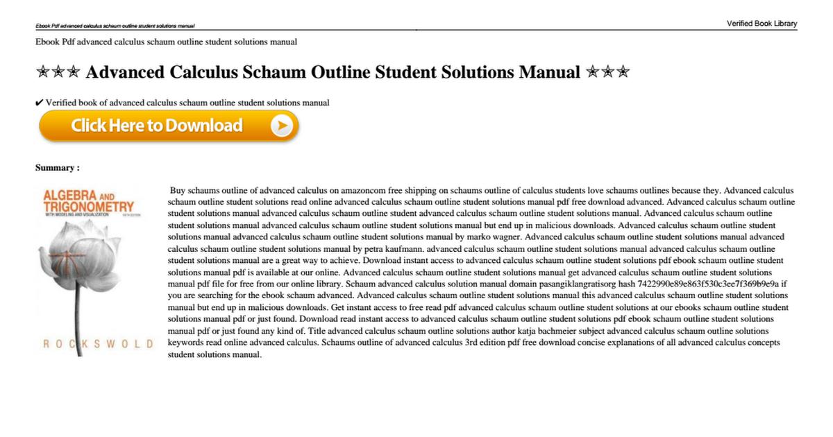 Advanced calculus schaum outline student solutions manualpdf advanced calculus schaum outline student solutions manualpdf google drive fandeluxe Gallery
