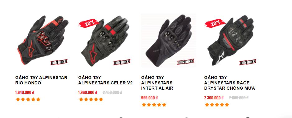 Một số loại găng tay phượt và giá bán tham khảo