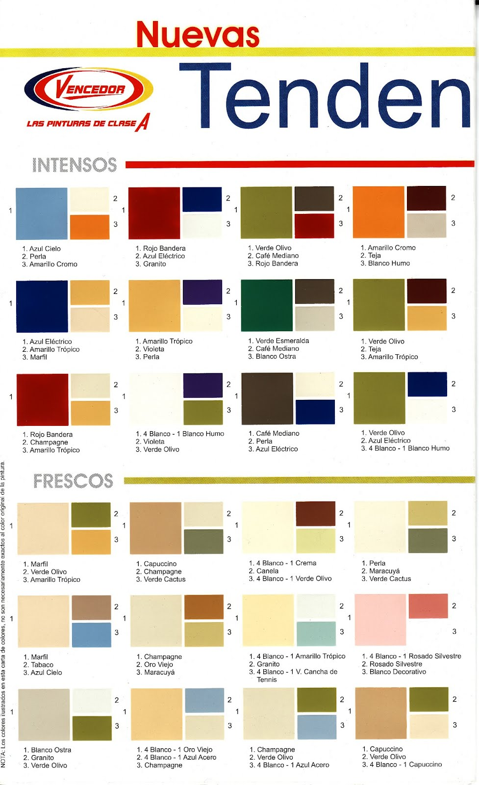 Todo pinturas industriales y decorativas for Cartilla de colores