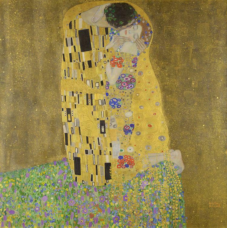 Pintura de hoja de oro sobre lienzo Klimt The Kiss
