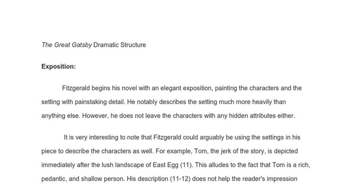 The Great Gatsby Dramatic Structure Google Docs