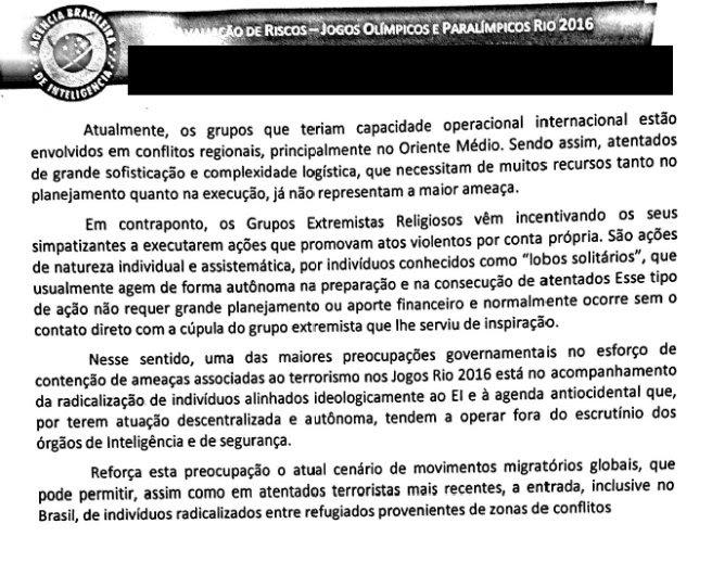 Trecho de relatório reservado distribuído às autoridades envolvidas na montagem da segurança da Olimpíada do Rio de Janeiro e obtido com exclusividade por VEJA