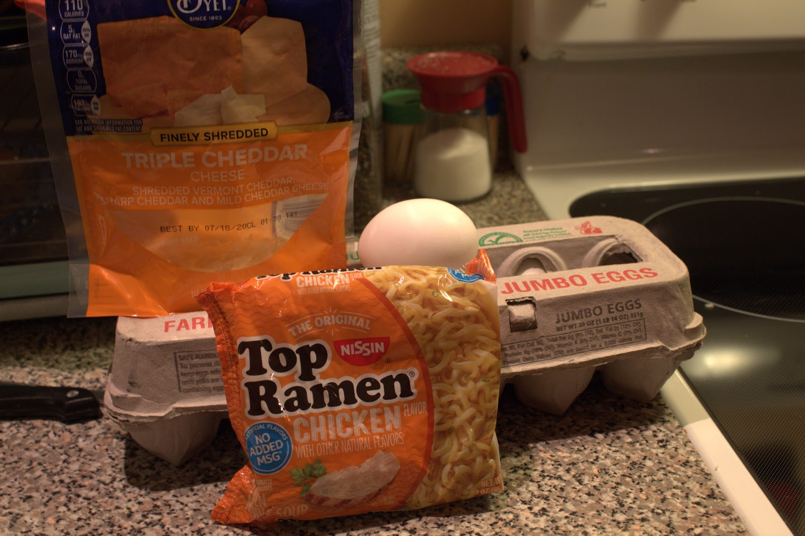 The ingredients needed for the egg noodles. Photo by Jessica Collins.