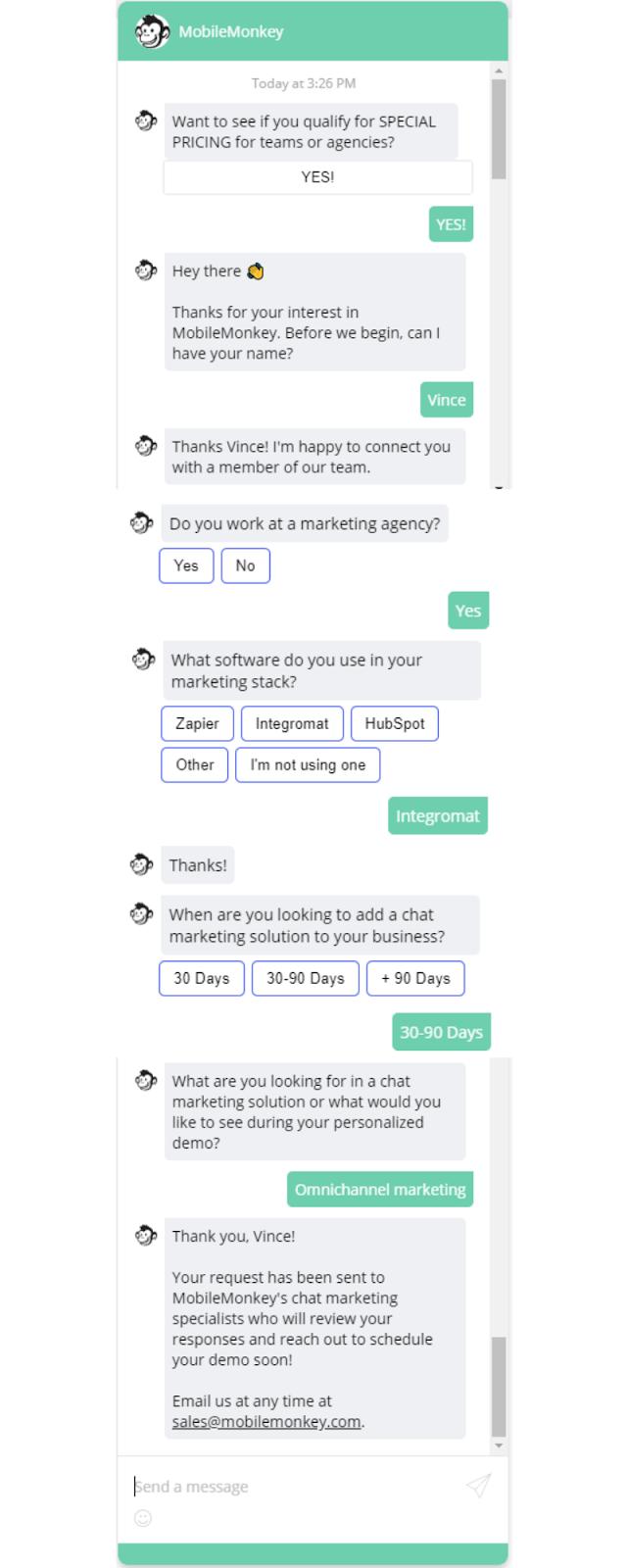 chatbot marketing gathering feedback and data
