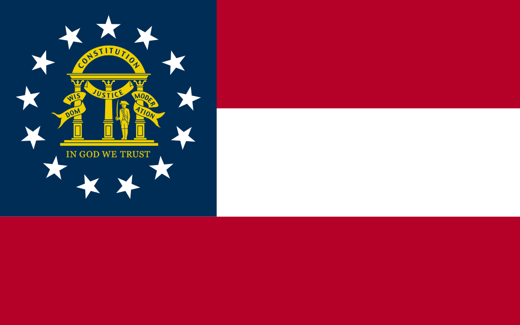 "The Georgia state flag. It says ""CONSTITUTION,"" ""JUSTICE,"" ""WISDOM,"" ""MODERATION,"" and ""IN GOD WE TRUST."""