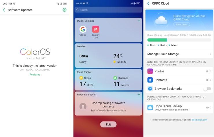 Screenshot tampilan Oppo F7 dengan Color OS