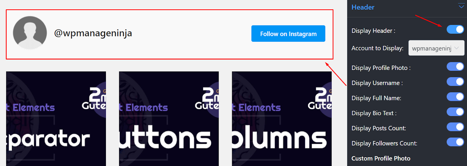 Instagram settings display header